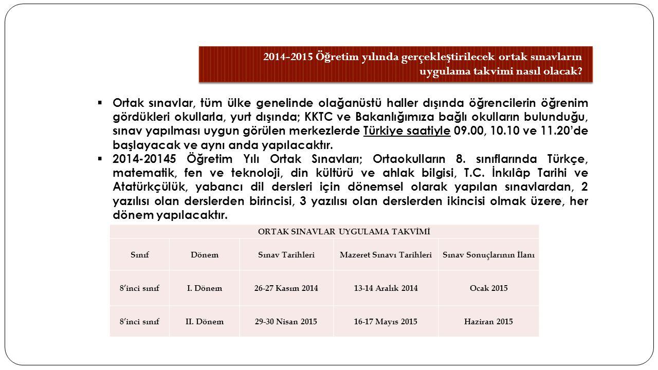 2014-2015 Ö ğ retim yılında gerçekle ş tirilecek ortak sınavların uygulama takvimi nasıl olacak.