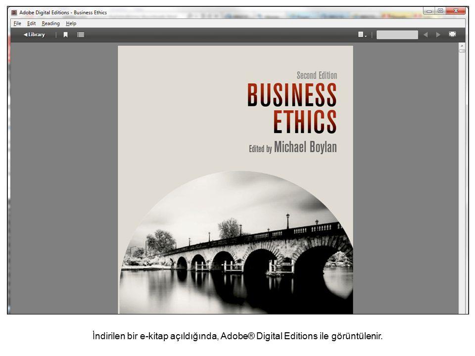 İndirilen bir e-kitap açıldığında, Adobe® Digital Editions ile görüntülenir.
