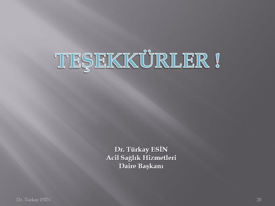 Dr. Türkay ESİN20 Dr. Türkay ESİN Acil Sağlık Hizmetleri Daire Başkanı
