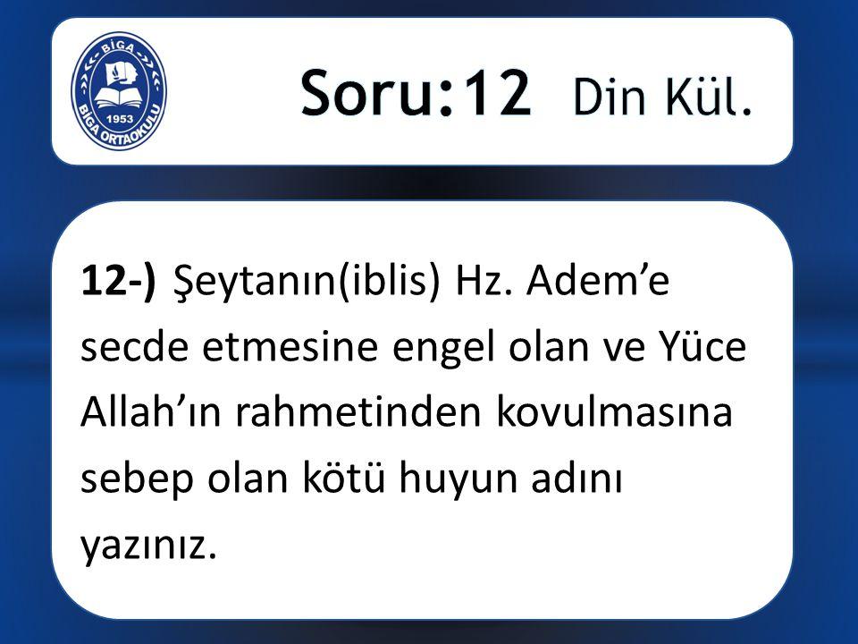 12-) Şeytanın(iblis) Hz.
