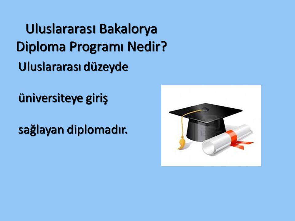 Uluslararas ı Bakalorya Diploma Programı Nedir? Uluslararası düzeyde üniversiteye giriş sağlayan diplomadır.