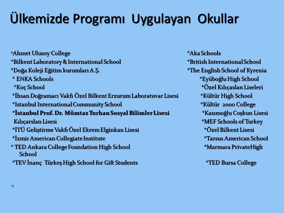 Ülkemizde Programı Uygulayan Okullar * Ahmet Ulusoy College *Aka Schools *Bilkent Laboratory & International School *British International School *Doğ