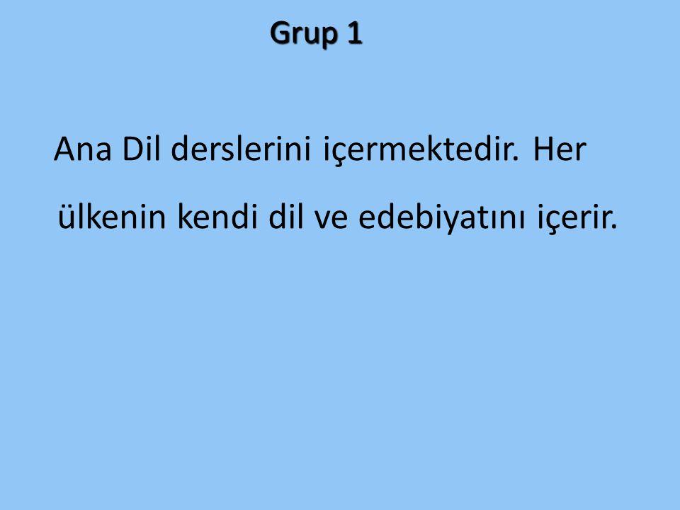 Grup 1 Ana Dil derslerini içermektedir. Her ülkenin kendi dil ve edebiyatını içerir.