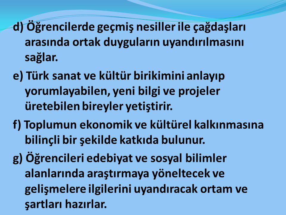 d) Öğrencilerde geçmiş nesiller ile çağdaşları arasında ortak duyguların uyandırılmasını sağlar. e) Türk sanat ve kültür birikimini anlayıp yorumlayab
