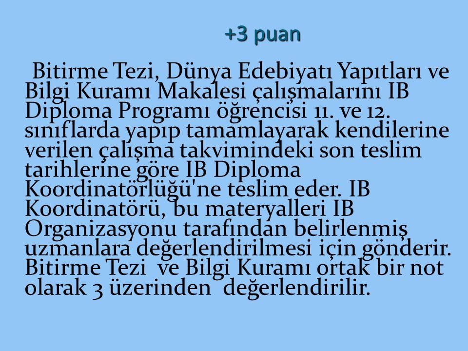 +3 puan Bitirme Tezi, Dünya Edebiyatı Yapıtları ve Bilgi Kuramı Makalesi çalışmalarını IB Diploma Programı öğrencisi 11. ve 12. sınıflarda yapıp tamam