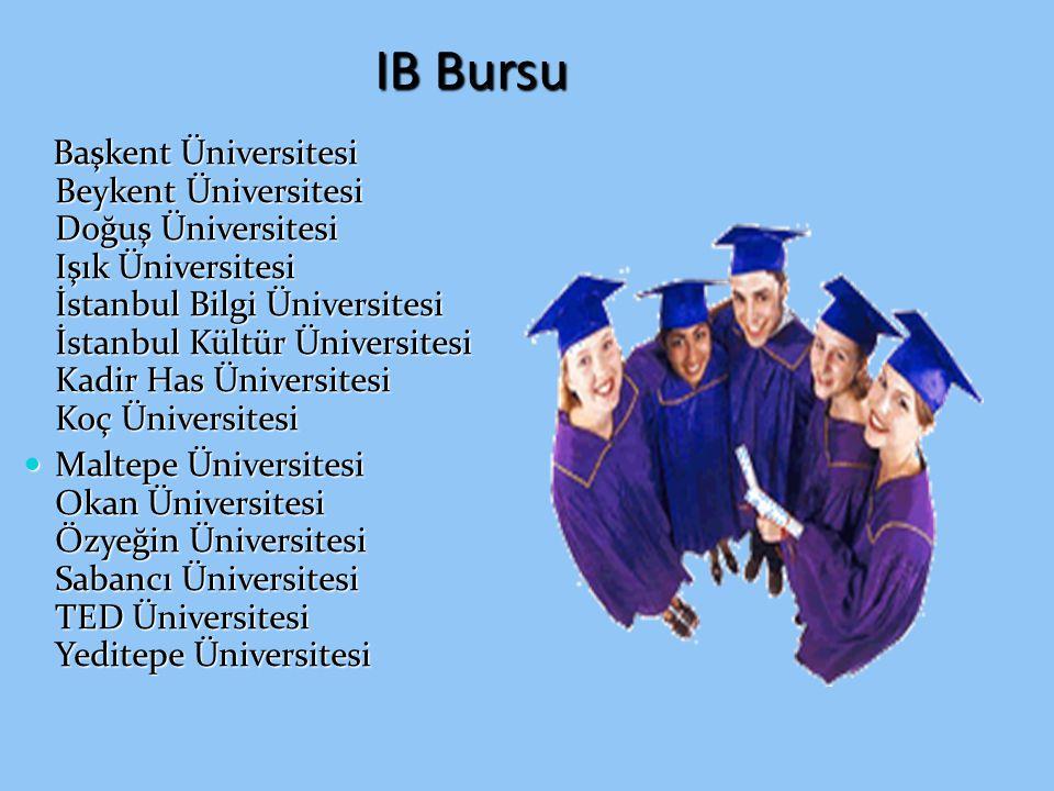 IB Bursu Başkent Üniversitesi Beykent Üniversitesi Doğuş Üniversitesi Işık Üniversitesi İstanbul Bilgi Üniversitesi İstanbul Kültür Üniversitesi Kadir