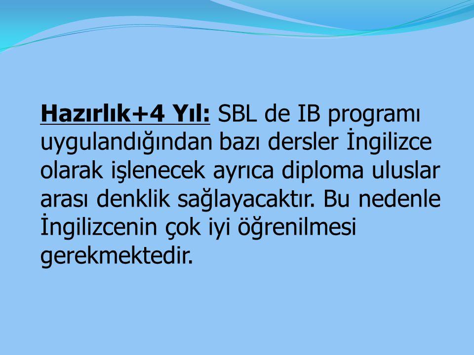 Hazırlık+4 Yıl: SBL de IB programı uygulandığından bazı dersler İngilizce olarak işlenecek ayrıca diploma uluslar arası denklik sağlayacaktır. Bu nede