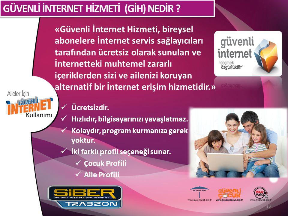 «Güvenli İnternet Hizmeti, bireysel abonelere İnternet servis sağlayıcıları tarafından ücretsiz olarak sunulan ve İnternetteki muhtemel zararlı içerik