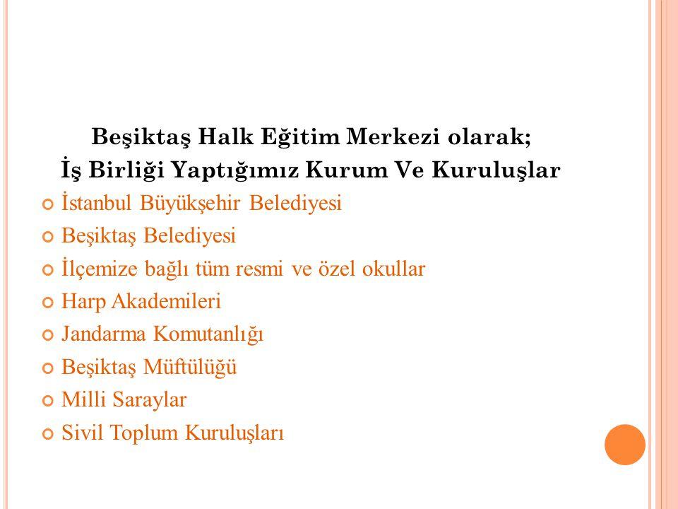 Beşiktaş Halk Eğitim Merkezi olarak; İş Birliği Yaptığımız Kurum Ve Kuruluşlar İstanbul Büyükşehir Belediyesi Beşiktaş Belediyesi İlçemize bağlı tüm r