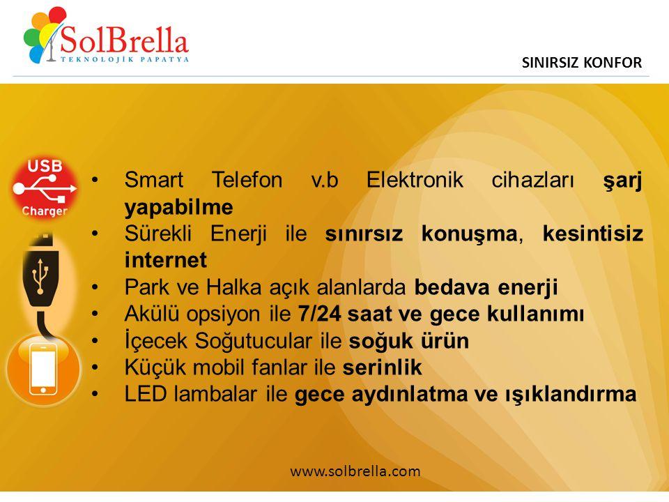 SINIRSIZ KONFOR www.solbrella.com Smart Telefon v.b Elektronik cihazları şarj yapabilme Sürekli Enerji ile sınırsız konuşma, kesintisiz internet Park ve Halka açık alanlarda bedava enerji Akülü opsiyon ile 7/24 saat ve gece kullanımı İçecek Soğutucular ile soğuk ürün Küçük mobil fanlar ile serinlik LED lambalar ile gece aydınlatma ve ışıklandırma