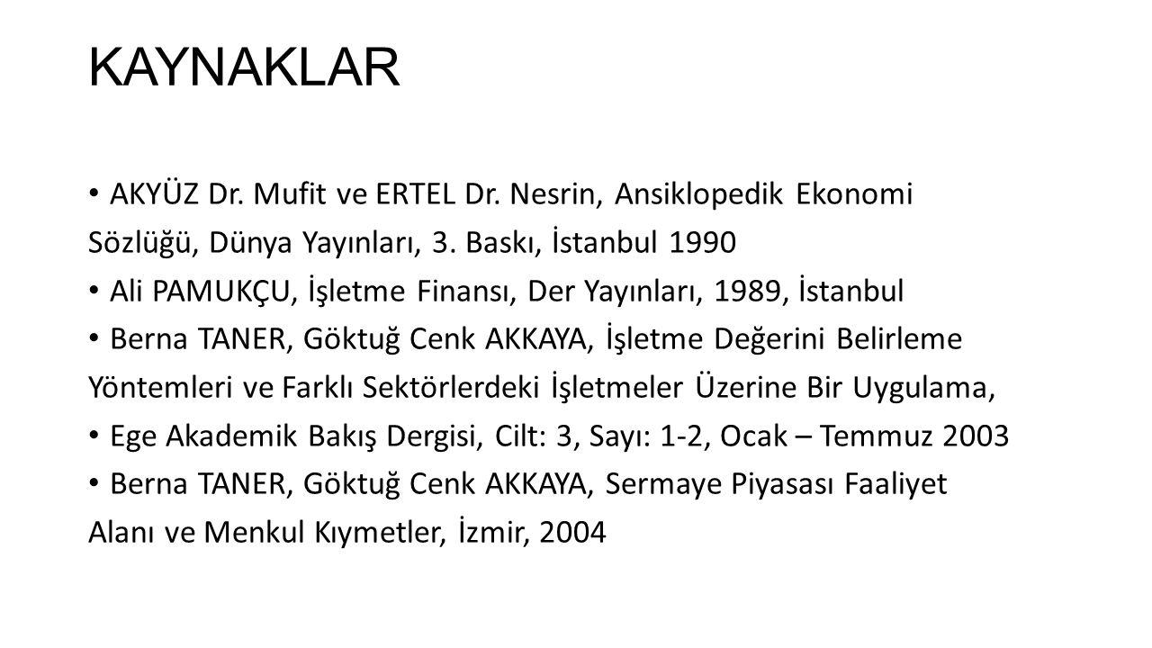 KAYNAKLAR AKYÜZ Dr. Mufit ve ERTEL Dr. Nesrin, Ansiklopedik Ekonomi Sözlüğü, Dünya Yayınları, 3. Baskı, İstanbul 1990 Ali PAMUKÇU, İşletme Finansı, De