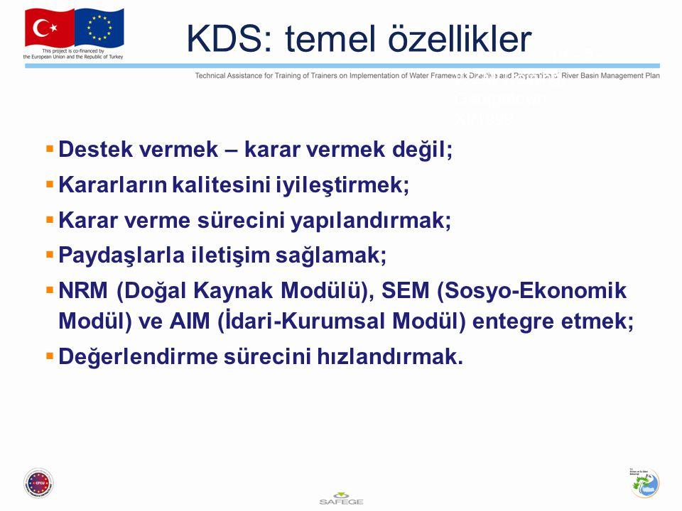 ICZM Training, Georgetown XI/1999 IV - 5 - 3 KDS: temel özellikler  Destek vermek – karar vermek değil;  Kararların kalitesini iyileştirmek;  Karar verme sürecini yapılandırmak;  Paydaşlarla iletişim sağlamak;  NRM (Doğal Kaynak Modülü), SEM (Sosyo-Ekonomik Modül) ve AIM (İdari-Kurumsal Modül) entegre etmek;  Değerlendirme sürecini hızlandırmak.