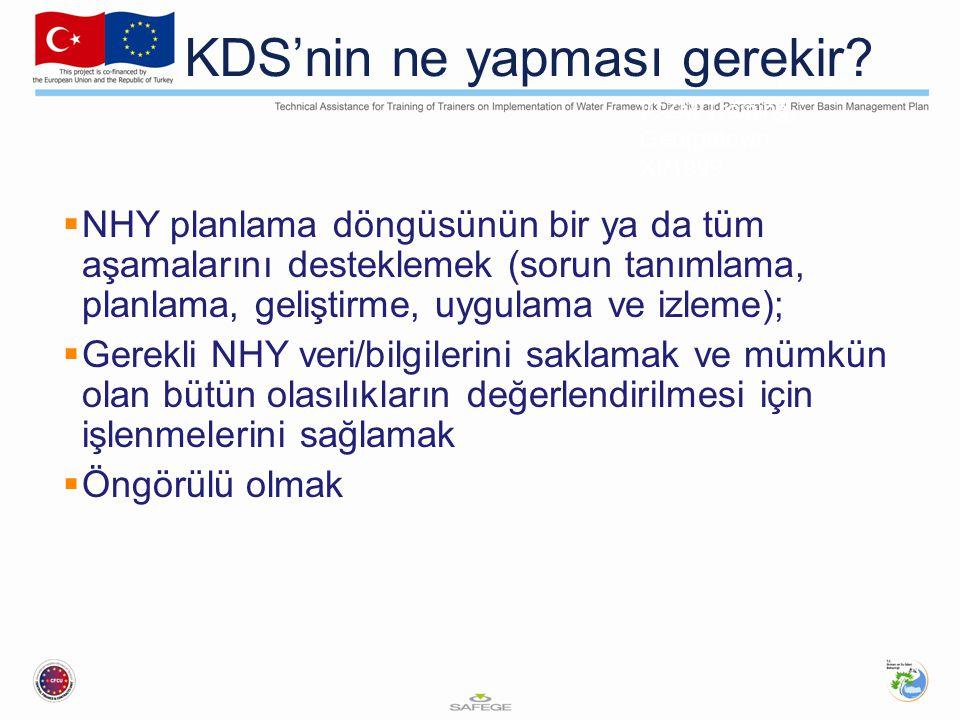 ICZM Training, Georgetown XI/1999 IV - 5 - 4 KDS'nin ne yapması gerekir.