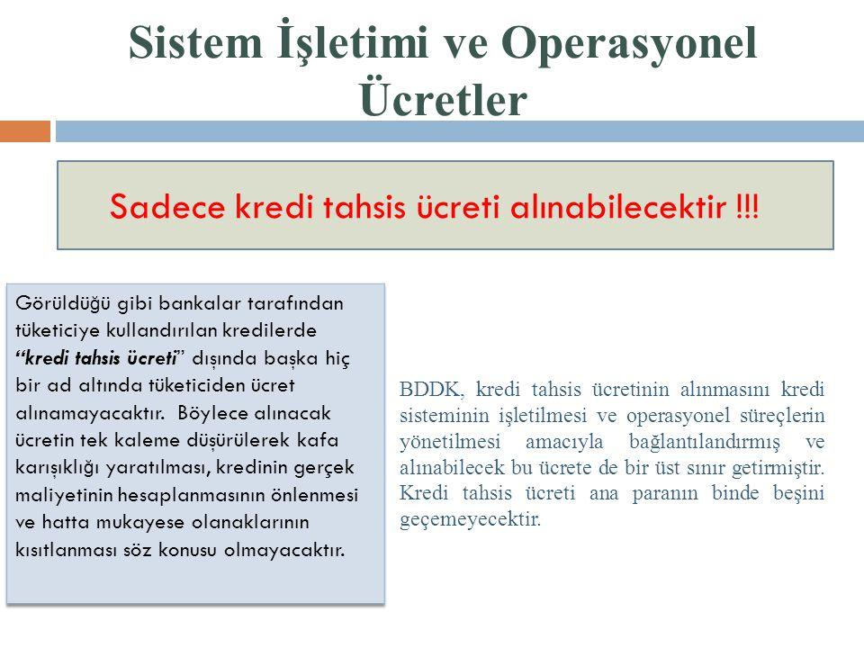 Sistem İşletimi ve Operasyonel Ücretler Sadece kredi tahsis ücreti alınabilecektir !!! BDDK, kredi tahsis ücretinin alınmasını kredi sisteminin işleti