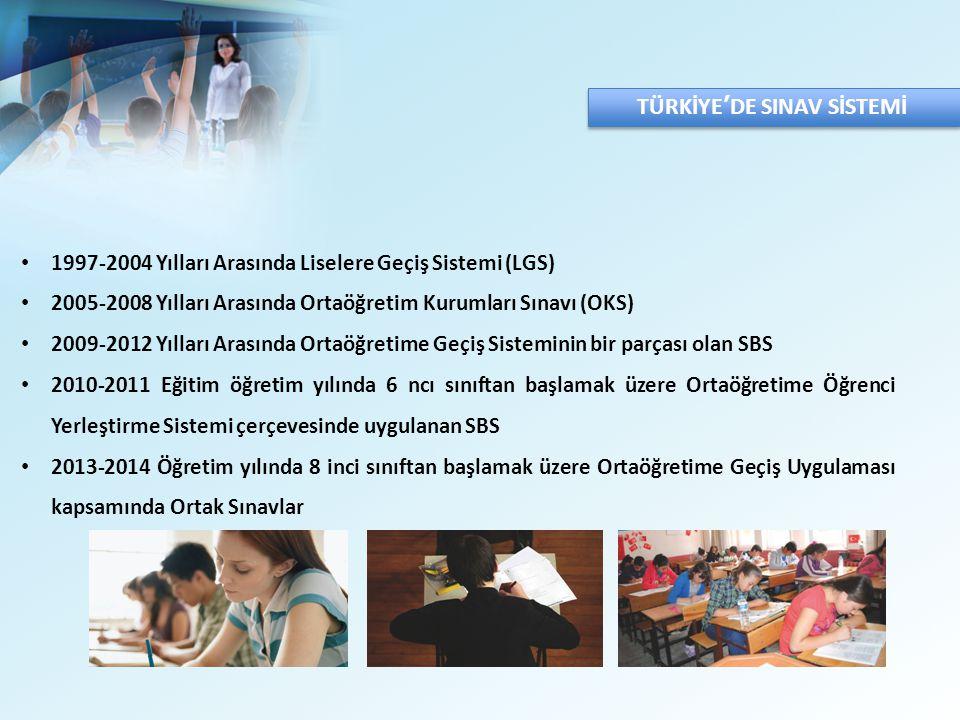 TÜRKİYE'DE SINAV SİSTEMİ 1997-2004 Yılları Arasında Liselere Geçiş Sistemi (LGS) 2005-2008 Yılları Arasında Ortaöğretim Kurumları Sınavı (OKS) 2009-2012 Yılları Arasında Ortaöğretime Geçiş Sisteminin bir parçası olan SBS 2010-2011 Eğitim öğretim yılında 6 ncı sınıftan başlamak üzere Ortaöğretime Öğrenci Yerleştirme Sistemi çerçevesinde uygulanan SBS 2013-2014 Öğretim yılında 8 inci sınıftan başlamak üzere Ortaöğretime Geçiş Uygulaması kapsamında Ortak Sınavlar