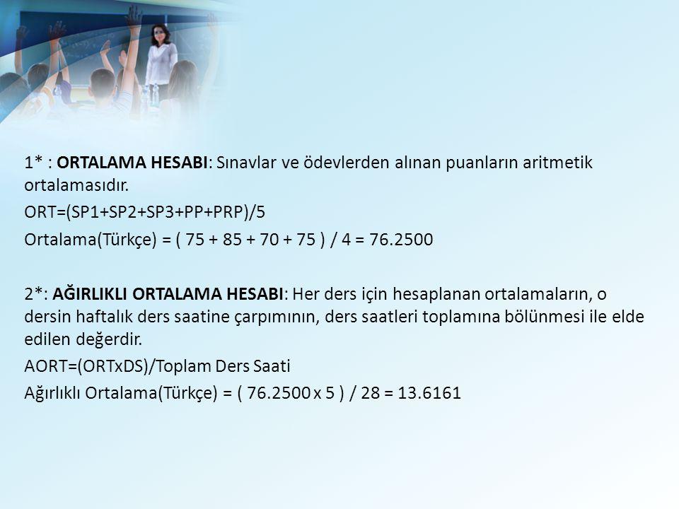 1* : ORTALAMA HESABI: Sınavlar ve ödevlerden alınan puanların aritmetik ortalamasıdır.