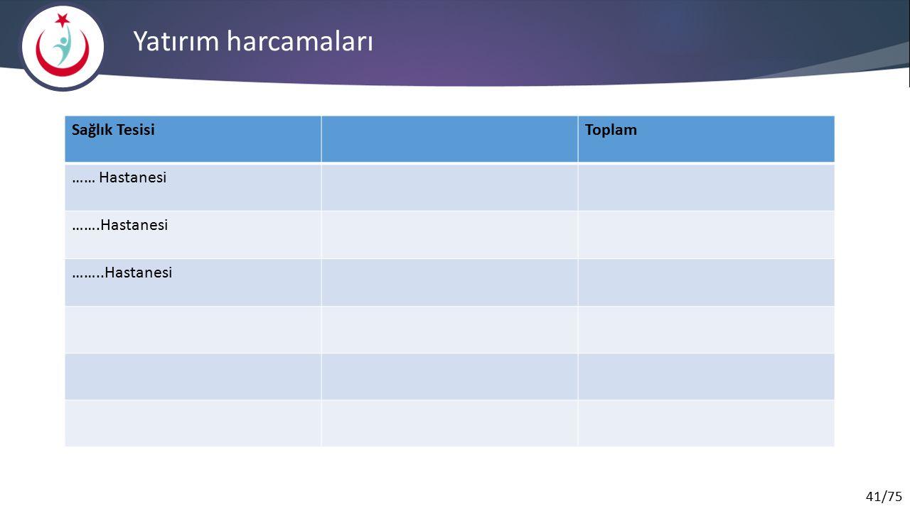 41/75 Yatırım harcamaları Sağlık TesisiToplam …… Hastanesi …….Hastanesi ……..Hastanesi