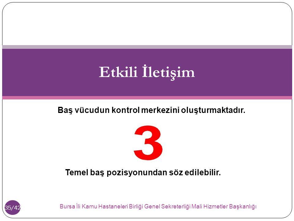 Bursa İ li Kamu Hastaneleri Birli ğ i Genel Sekreterli ğ i Mali Hizmetler Ba ş kanlı ğ ı 35/42 Etkili İletişim Baş vücudun kontrol merkezini oluşturmaktadır.