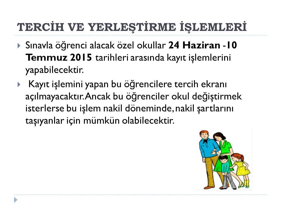 TERCİH VE YERLEŞTİRME İŞLEMLERİ  Sınavla ö ğ renci alacak özel okullar 24 Haziran -10 Temmuz 2015 tarihleri arasında kayıt işlemlerini yapabilecektir