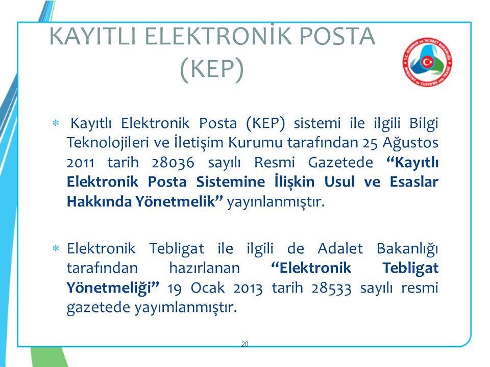  Kayıtlı Elektronik Posta (KEP) sistemi ile ilgili Bilgi Teknolojileri ve İletişim Kurumu tarafından 25 Ağustos 2011 tarih 28036 sayılı Resmi Gazeted