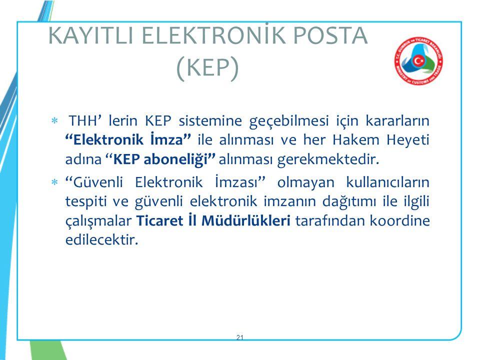 """ THH' lerin KEP sistemine geçebilmesi için kararların """"Elektronik İmza"""" ile alınması ve her Hakem Heyeti adına """"KEP aboneliği"""" alınması gerekmektedir"""