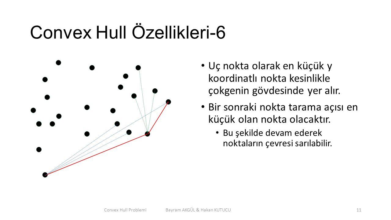 Convex Hull Özellikleri-6 Uç nokta olarak en küçük y koordinatlı nokta kesinlikle çokgenin gövdesinde yer alır. Bir sonraki nokta tarama açısı en küçü