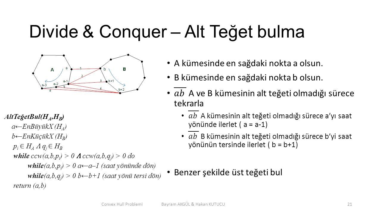 Divide & Conquer – Alt Teğet bulma Convex Hull Problemi Bayram AKGÜL & Hakan KUTUCU21