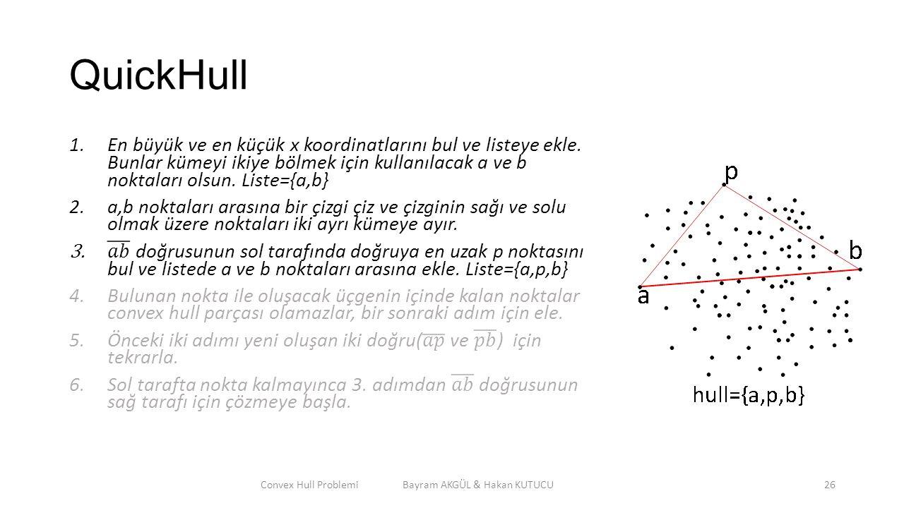 QuickHull Convex Hull Problemi Bayram AKGÜL & Hakan KUTUCU26