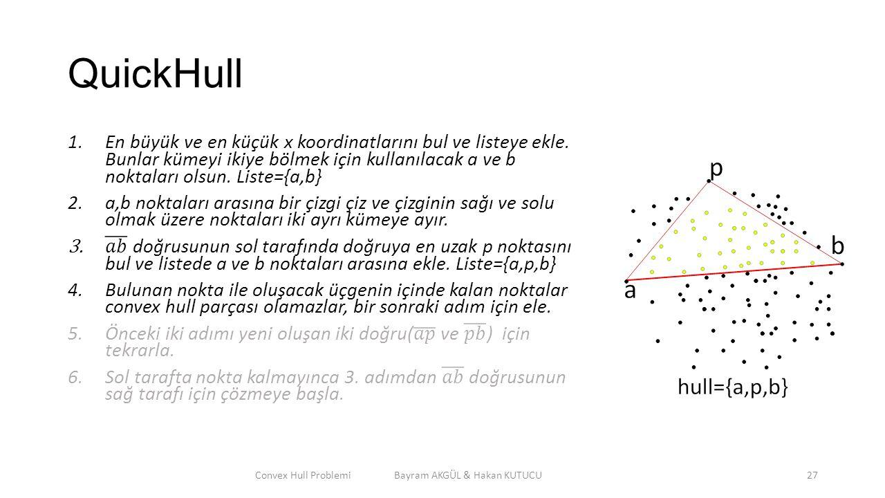 QuickHull Convex Hull Problemi Bayram AKGÜL & Hakan KUTUCU27