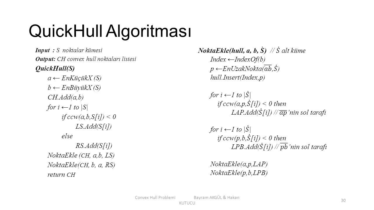 QuickHull Algoritması Convex Hull Problemi Bayram AKGÜL & Hakan KUTUCU 30 Input : S noktalar kümesi Output: CH convex hull noktaları listesi QuickHull
