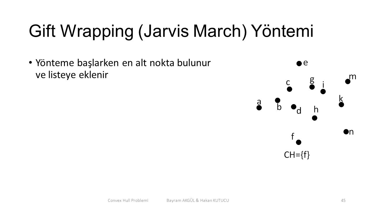 Gift Wrapping (Jarvis March) Yöntemi Yönteme başlarken en alt nokta bulunur ve listeye eklenir Convex Hull Problemi Bayram AKGÜL & Hakan KUTUCU45