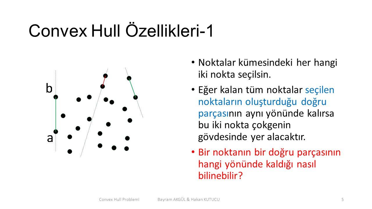 Convex Hull Özellikleri-1 Noktalar kümesindeki her hangi iki nokta seçilsin. Eğer kalan tüm noktalar seçilen noktaların oluşturduğu doğru parçasının a