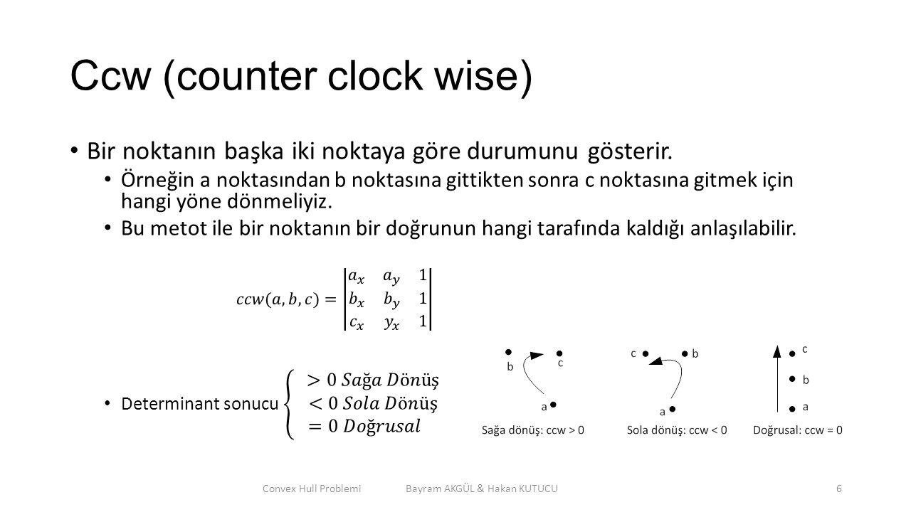 Ccw (counter clock wise) Convex Hull Problemi Bayram AKGÜL & Hakan KUTUCU6