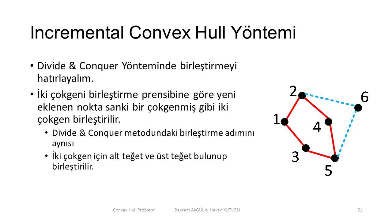 Incremental Convex Hull Yöntemi Divide & Conquer Yönteminde birleştirmeyi hatırlayalım. İki çokgeni birleştirme prensibine göre yeni eklenen nokta san