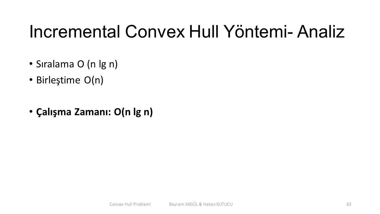 Incremental Convex Hull Yöntemi- Analiz Sıralama O (n lg n) Birleştime O(n) Çalışma Zamanı: O(n lg n) Convex Hull Problemi Bayram AKGÜL & Hakan KUTUCU
