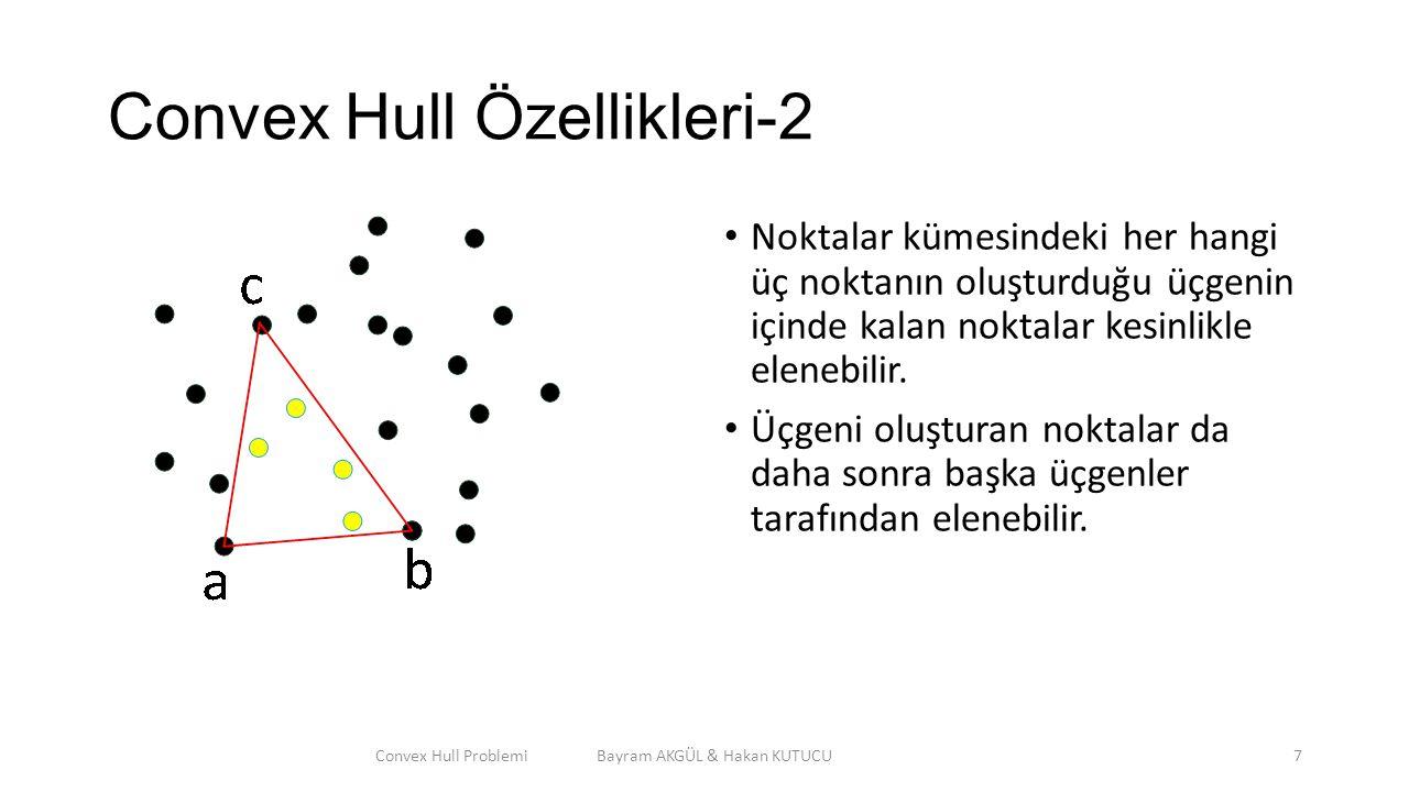 Convex Hull Özellikleri-2 Noktalar kümesindeki her hangi üç noktanın oluşturduğu üçgenin içinde kalan noktalar kesinlikle elenebilir. Üçgeni oluşturan