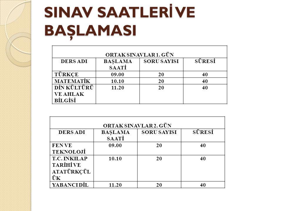 SINAV SAATLER İ VE BAŞLAMASI ORTAK SINAVLAR 1.