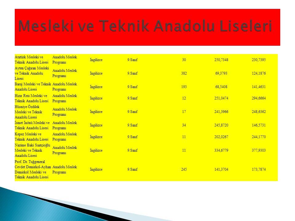 Atatürk Mesleki ve Teknik Anadolu Lisesi Anadolu Meslek Programı İngilizce9.Sınıf30250,7348230,7395 Ayten Çağıran Mesleki ve Teknik Anadolu Lisesi Ana