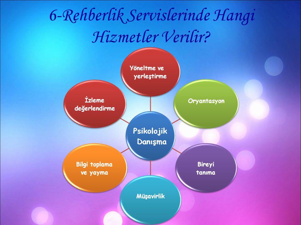 6-Rehberlik Servislerinde Hangi Hizmetler Verilir? Psikolojik Danışma Yöneltme ve yerleştirme Oryantasyon Bireyi tanıma MüşavirlikBilgi toplama ve yay