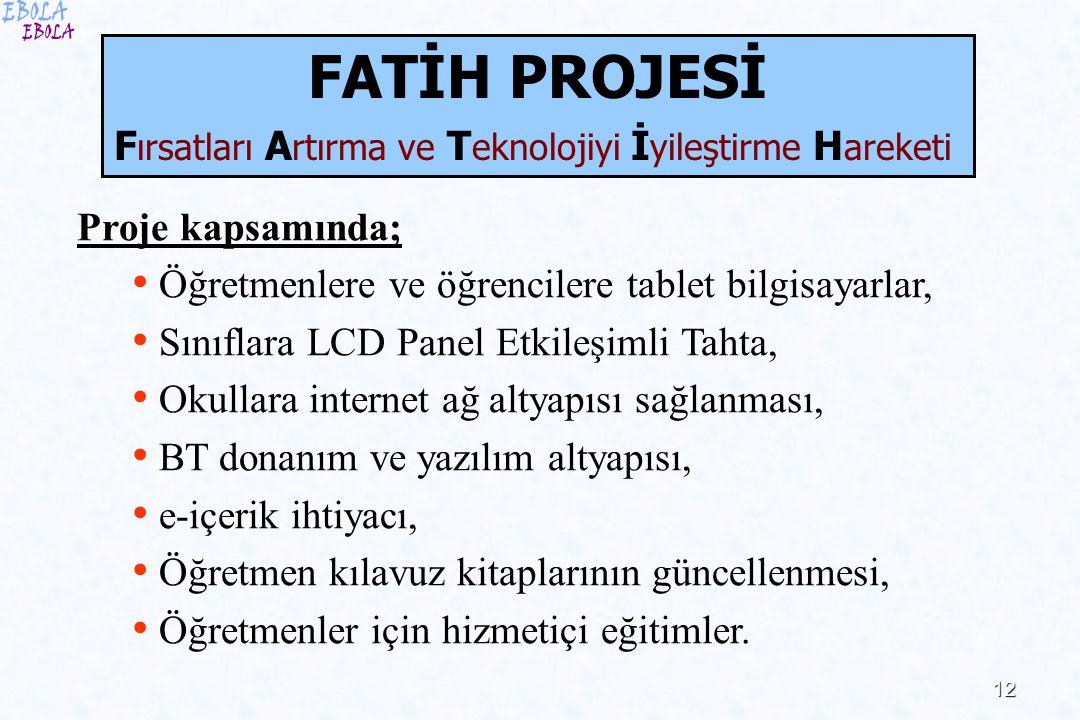 12 Proje kapsamında; Öğretmenlere ve öğrencilere tablet bilgisayarlar, Sınıflara LCD Panel Etkileşimli Tahta, Okullara internet ağ altyapısı sağlanmas