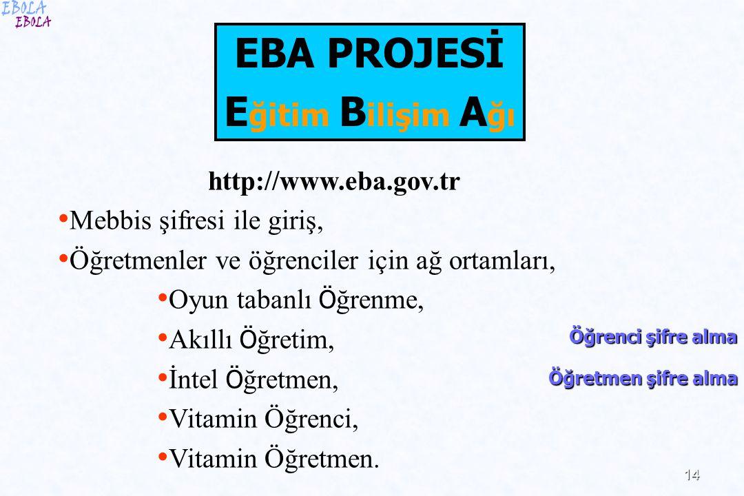 14 EBA PROJESİ E ğitim B ilişim A ğı http://www.eba.gov.tr Mebbis şifresi ile giriş, Öğretmenler ve öğrenciler için ağ ortamları, Oyun tabanlı Ö ğrenm