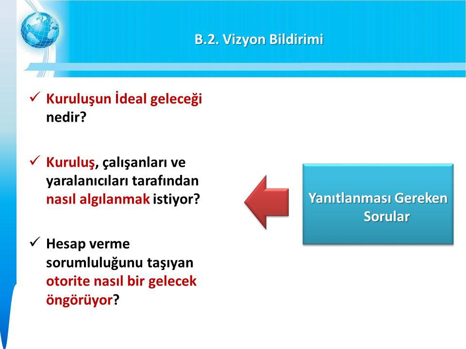 B.2.Vizyon Bildirimi Kuruluşun İdeal geleceği nedir.