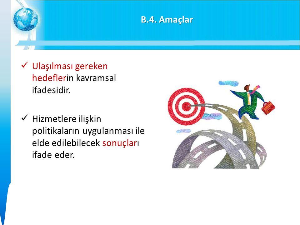 B.4.Amaçlar Ulaşılması gereken hedeflerin kavramsal ifadesidir.