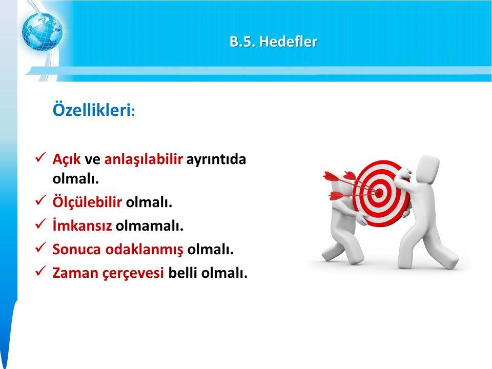 B.5.Hedefler Özellikleri : Açık ve anlaşılabilir ayrıntıda olmalı.