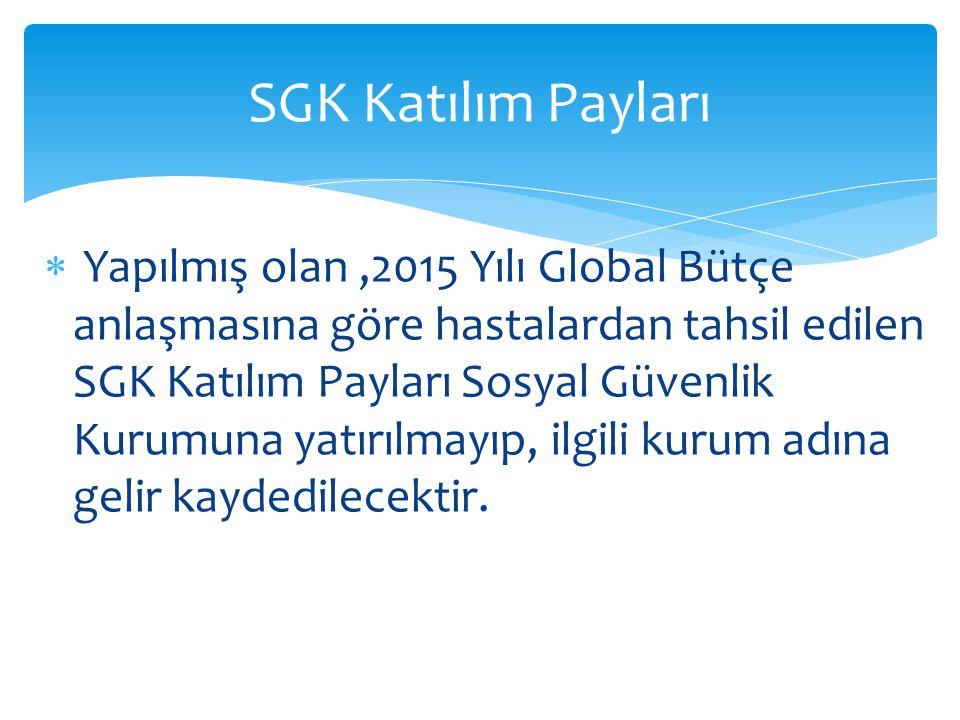  Yapılmış olan,2015 Yılı Global Bütçe anlaşmasına göre hastalardan tahsil edilen SGK Katılım Payları Sosyal Güvenlik Kurumuna yatırılmayıp, ilgili ku