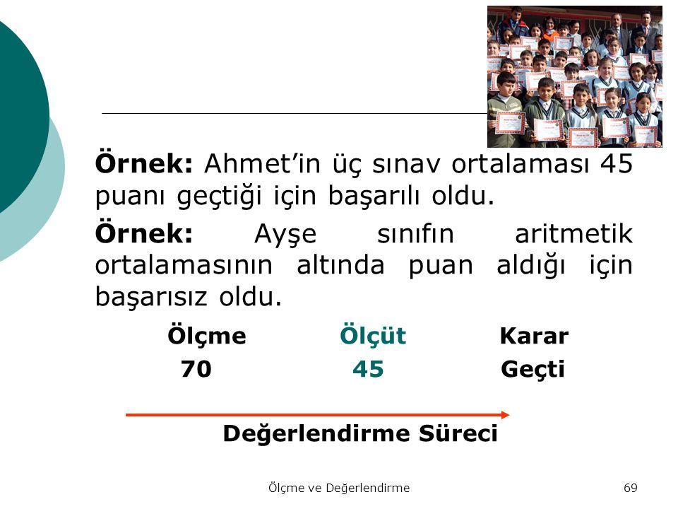 69 Örnek: Ahmet'in üç sınav ortalaması 45 puanı geçtiği için başarılı oldu. Örnek: Ayşe sınıfın aritmetik ortalamasının altında puan aldığı için başar