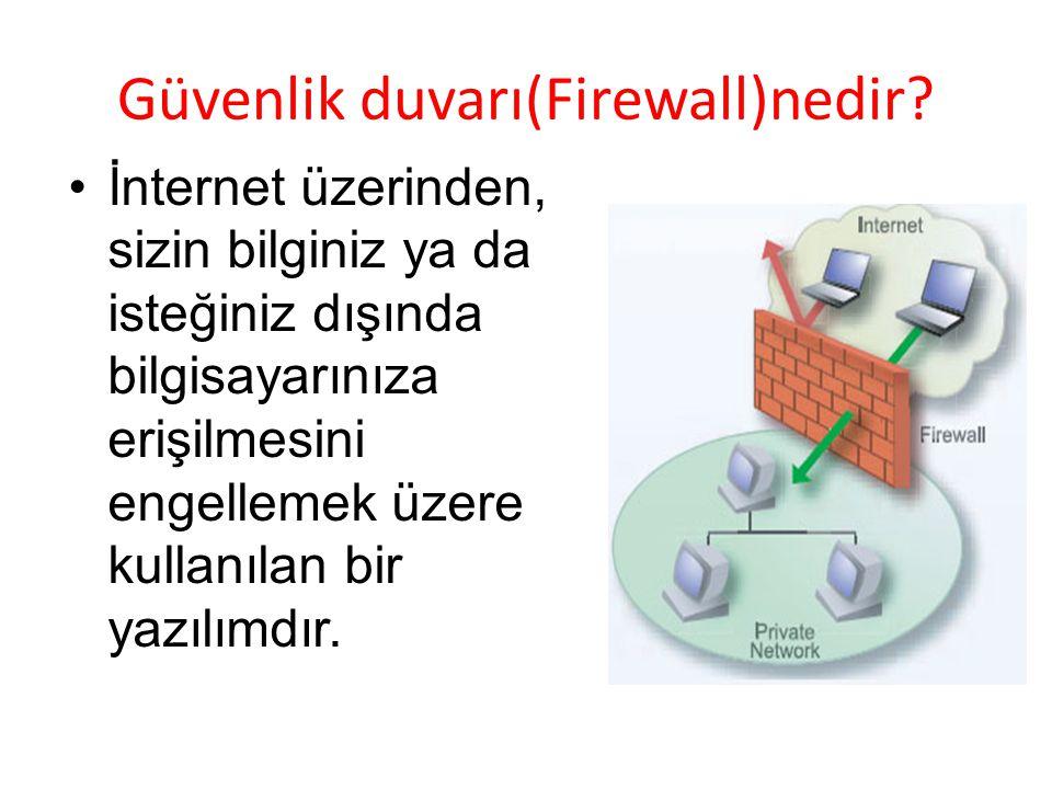 Güvenlik duvarı(Firewall)nedir? İnternet üzerinden, sizin bilginiz ya da isteğiniz dışında bilgisayarınıza erişilmesini engellemek üzere kullanılan bi