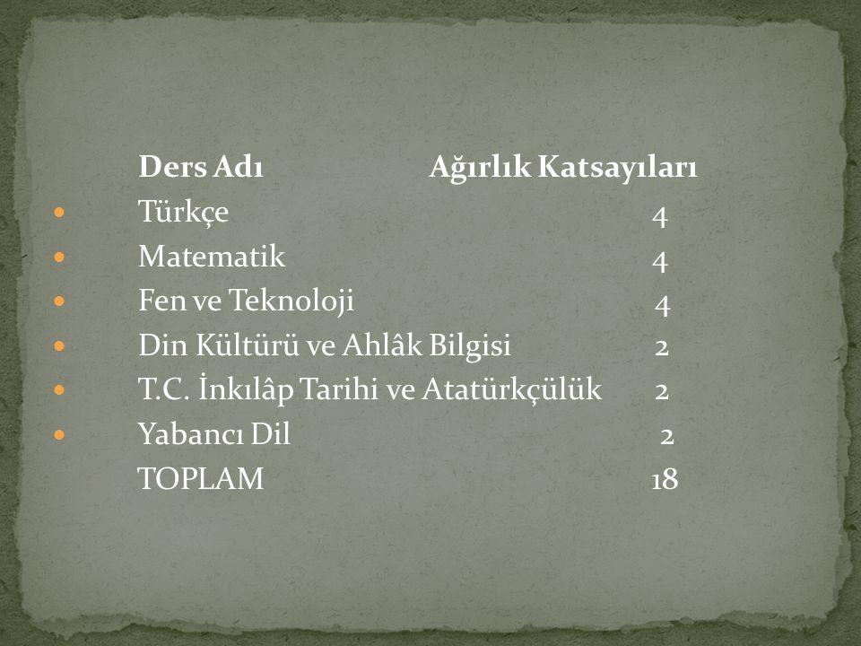 Ders Adı Ağırlık Katsayıları Türkçe 4 Matematik 4 Fen ve Teknoloji 4 Din Kültürü ve Ahlâk Bilgisi 2 T.C. İnkılâp Tarihi ve Atatürkçülük 2 Yabancı Dil