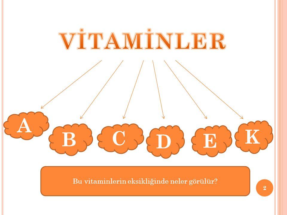 2 A B C D E K Bu vitaminlerin eksikliğinde neler görülür?