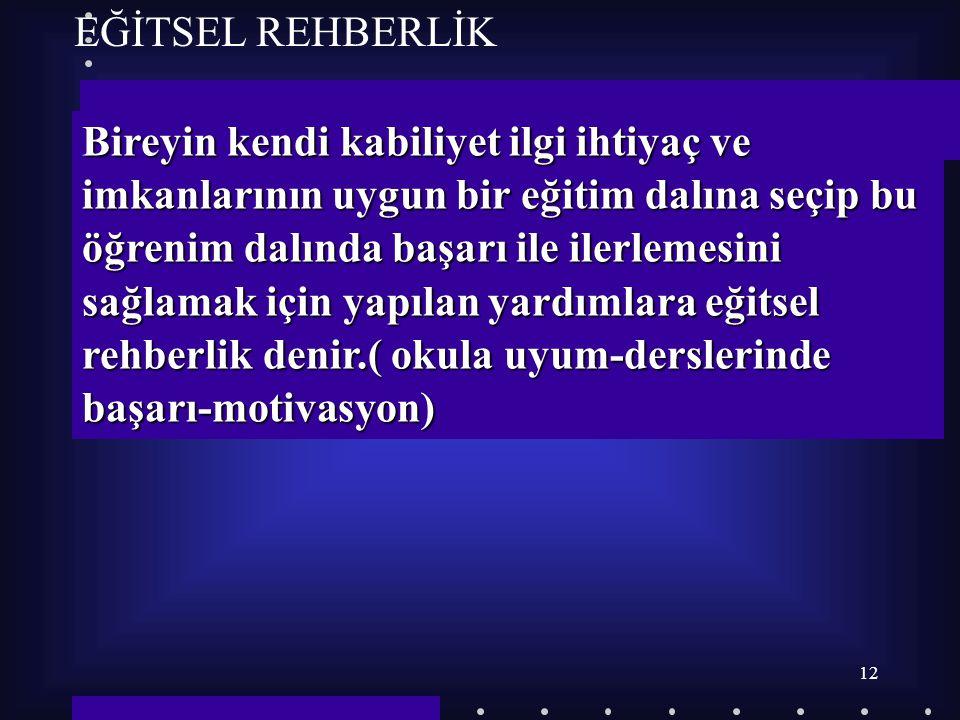 11 REHBERLİĞİN ÇEŞİTLERİ  EĞİTSEL REHBERLİK  MESLEKİ REHBERLİK  BİREYSEL REHBERLİK  EĞİTSEL REHBERLİK  MESLEKİ REHBERLİK  BİREYSEL REHBERLİK